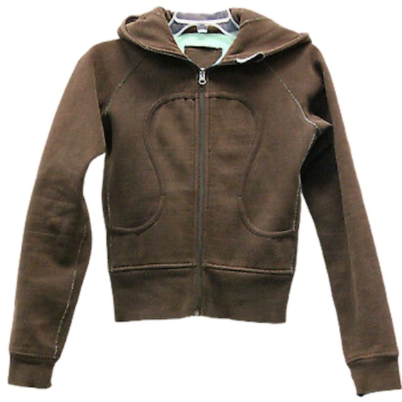 Lululemon scuba hoodie brown with Turquoise accent